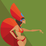 Flat geometric design of dancing samba queen Royalty Free Stock Images