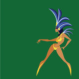 Flat geometric design of dancing samba queen Royalty Free Stock Photo