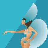 Flat geometric design of dancing samba queen Stock Image
