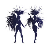 Flat geometric design of dancing samba queen Stock Photos