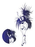 Flat geometric design of dancing samba queen Stock Photography
