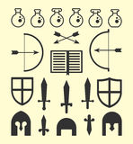 Flat Geometric Fantasy Icons Royalty Free Stock Photo