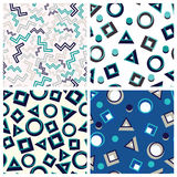 Flat geometric shapes in seamless pattern. Set flat seamless patterns winter theme Royalty Free Stock Photos