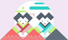 Flat geometric vector cute two woman , characters cartoon, Memphis style design illustration. A flat geometric vector have cute two woman in cartoon characters vector illustration