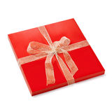Flat gift box. Flat red box. Gift set with a nice lashing bow. Clipping path Royalty Free Stock Photography