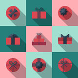 Flat gift box icon with long shadow Stock Images