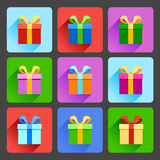 Flat gift box icons set Stock Image