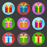 Flat gift box icons set Royalty Free Stock Photos