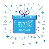 Flat Gift box, winter seasonal sale 50%, discount, vector.  Stock Image