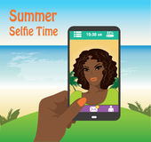 Flat girl taking selfie by mobile phone on the beach Royalty Free Stock Photos
