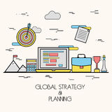 Flat of Global Business Strategy and Planning. Royalty Free Stock Photos