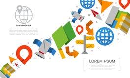 Flat Global Positioning System Elements Set stock illustration