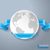 Flat globe with blue ribbon design Royalty Free Stock Photos