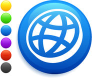 Flat globe icon on round internet button Stock Photography