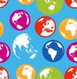 Flat globes seamless pattern Stock Photography