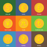 Flat Golden Coins. Currency Icons. Stock Photos