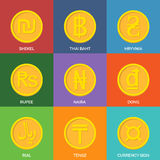Flat Golden Coins. Currency Icons. Royalty Free Stock Photo