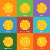 Flat Golden Coins. Currency Icons. Royalty Free Stock Photos