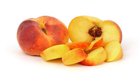 Flat Golden Peaches and Slices Stock Image