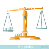 Flat golden vintage scales with weights Stock Photography