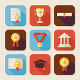 Flat Graduation and Success Squared App Icons Set Stock Photography