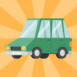 Flat green car vehicle type design sedan style vector generic classic business auto illustration. Flat green car vehicle type design sedan sign technology style stock illustration