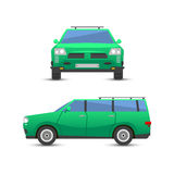 Flat green car vehicle type design sedan style vector generic classic business illustration isolated. Royalty Free Stock Photography