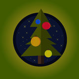 Flat Green Christmas Tree With Decorations Stock Photos