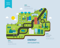 Flat green energy, ecology, eco, clean planet Stock Photography