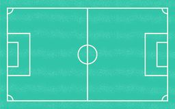 Flat green field with soccer game strategy. Vector illustration. Football playground. Sport board for for game simulation Royalty Free Stock Images