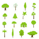 Flat green garden forest icons trees vector. Natur Royalty Free Stock Photography