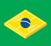 Flat green soccer field, brazil flag. Flat design green soccer field, brazil flag, vector background illustration Royalty Free Stock Photography