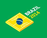 Flat green soccer field, brazil flag Royalty Free Stock Image