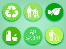 Flat green stickers set Royalty Free Stock Images