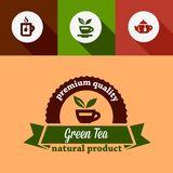 Flat green tea design elements Stock Photography