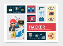 Flat Hacker Activity Infographic Template. With hacking process remote control pistol money camera safe eye fingerprint scanning protection vector illustration Stock Photography