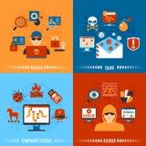 Flat Hacker Concept Set Stock Images