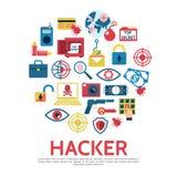 Flat Hacking Round Concept. With safe hacker bug lock laptop money dynamite bomb key pistol shield fingerprint eye scanning remote control isolated vector Stock Image
