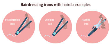 Flat hairdressing irons with hairdo examples. Infographic with curling iron, thinning iron and crimping iron, barbershop and hair style salon equipment vector illustration