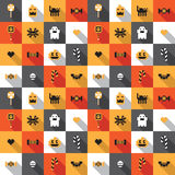 Flat Halloween festive seamless pixel pattern in vector Stock Photography
