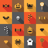 Flat Halloween festive seamless pixel pattern in vector. Flat vector Halloween icons seamless pixel pattern Stock Image