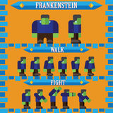 Flat halloween game character for design frankenstein Stock Photography