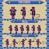 Flat halloween game character for design succubus Stock Images