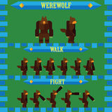 Flat halloween game character for design werewolf Royalty Free Stock Image