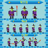 Flat halloween game character for design witch Stock Photo