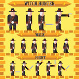 Flat halloween game character for design witch hunter Royalty Free Stock Photo