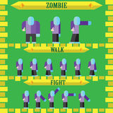 Flat halloween game character for design zombie Royalty Free Stock Photography