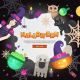 Flat Halloween Icons with Square Frame Stock Photo
