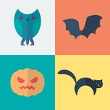 Flat Halloween Icons Royalty Free Stock Photo
