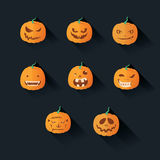 Flat Halloween Pumpkin Stock Images